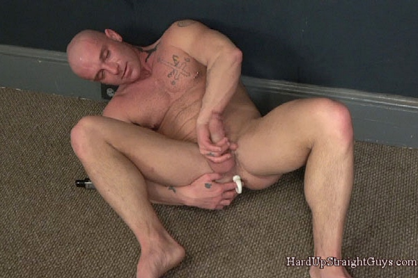 Masculine straight hunk Collin humiliates himself, finger and dildo fucks himself before he jerks off in Degraded Before His Woman at Hardupstraightguys