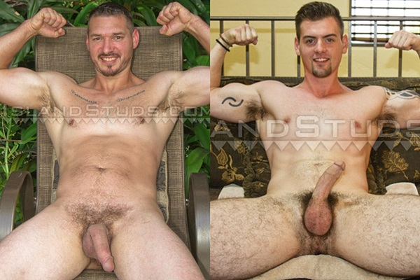 Beefy factory maintenance man Don and handsome security guard Drake get naked and jerk off at Islandstuds