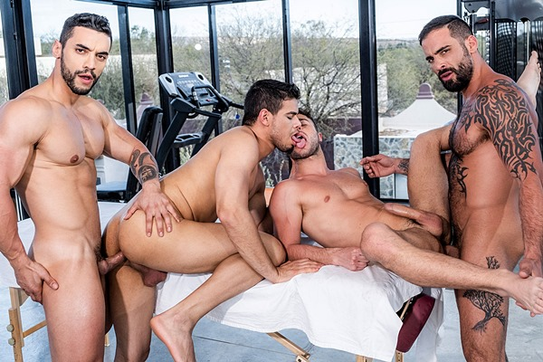 Muscle hunk Arad Winwin barebacks Allen King, Edji Da Silva and Rico Marlon in a fourway orgy at Lucasentertainment