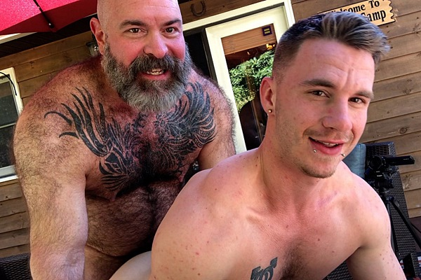 Fuzzy muscle daddy Will Angell barebacks and creampies Mac Savage in an older younger scene in Bear Bait at Musclebearporn