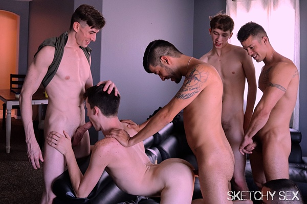 Espen, Joey Bones, Jack Hunter and Nic Sahara gangbang bareback and breed Alex Meyer and Jacob Griffith in Jacob's bottoming debut in Addickted at Sketchysex