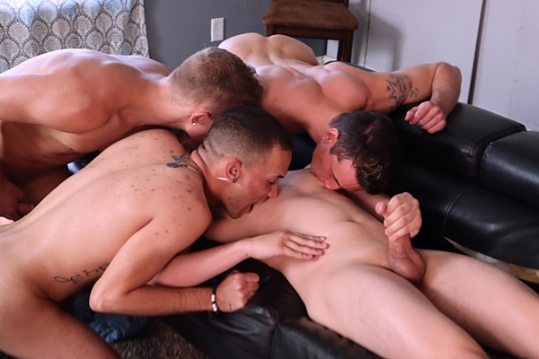 Sketchy dudes Adam, Damien Black and Xander Devila gangbang bareback and breed blond twink bottom Adam Awbride in Fuck Fest at Sketchysex