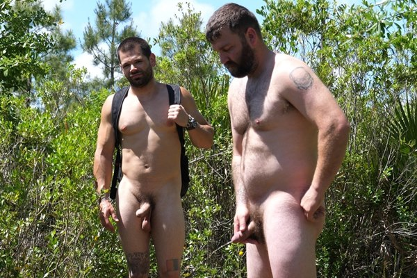 Fuzzy muscle bear Scott Johnson and a new bearded hunk have a naked run and jerk off in the woods in 2 Swingin' Dicks in the Woods at Theguysite