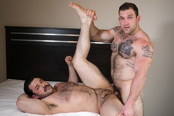 Sexy fuzzy beefcake Jack fucks bearded newcomer Freddie's tight ass in Freddie's Bottoming Debut at Theguysite