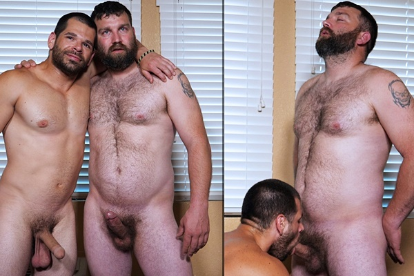 Masculine straight beefcake John sucks off fuzzy muscle bear Scott Johnson in his first blowjob at Theguysite