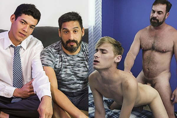 Masculine daddy Mr. Garcia and Kristofer Weston bareback cute young men Tomas and Oliver Star at Familydick