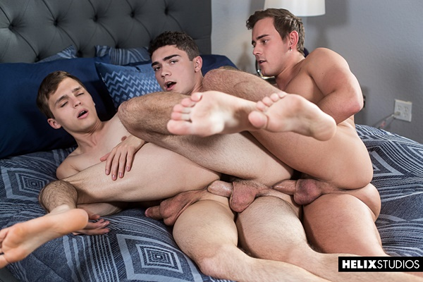 Josh Brady barebacks Tristan Adler and Ashtin Bates in a raw threeway in Ashtin's bottoming debut in Double Dipping at Helixstudios