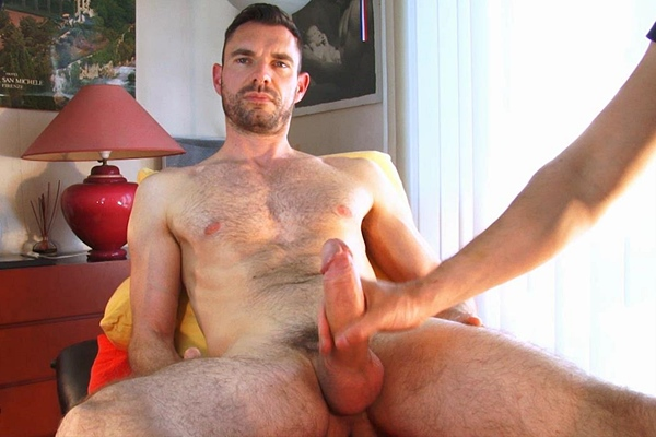 Rugged handsome French straight hunk Marc massaged, manhandled and jerked off by two masseurs at Keumgay