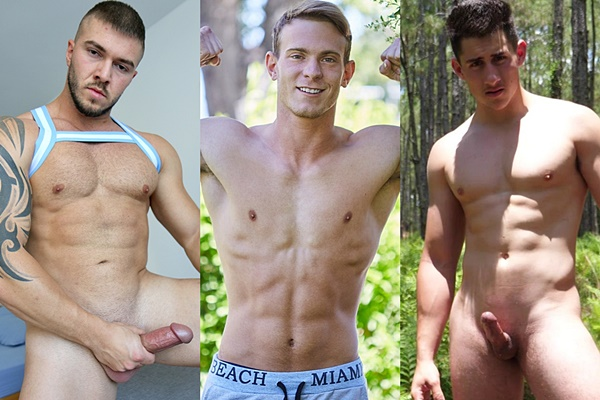 Fit muscle jock Marti Trifon at Bentleyrace, handsome college jock Will at Corbinfisher and a ripped quarterback at Theguysite jerk off