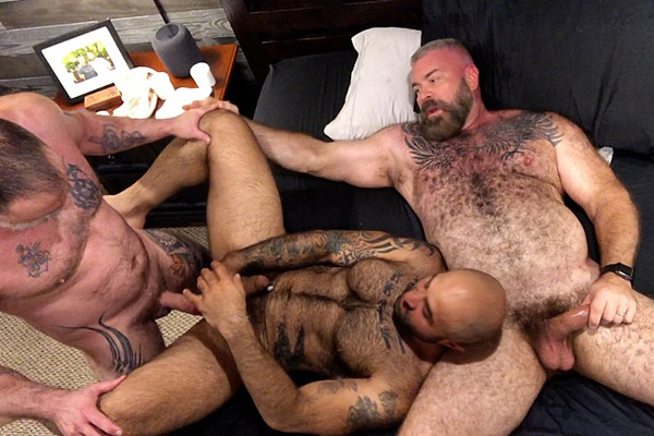 Muscle bear daddies Liam Angell and Will Angell bareback and creampie sexy fuzzy beefcake Atlas Grant in a raw threeway at Musclebearporn
