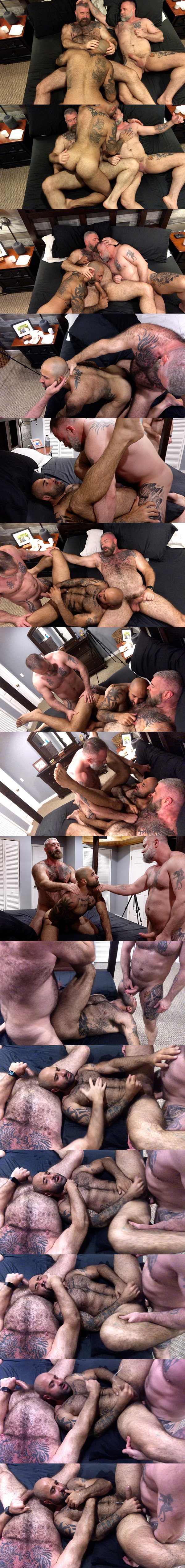 Muscle bear daddies Liam Angell and Will Angell bareback and creampie sexy fuzzy beefcake Atlas Grant in a raw threeway at Musclebearporn 02
