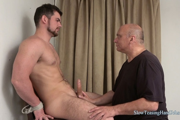 Hot new model, straight muscle stud Dan gets tied up, slowly sucked and jerked off by master Rich at Slowteasinghandjobs