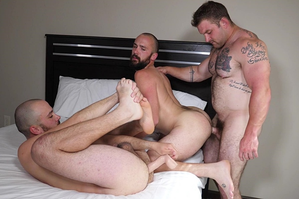 Hot beefcake Jack fucks bald twins Jason and Justin in their bottoming debut in Jack Fucks the Doubledong Twins at Theguysite