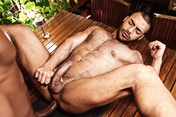 Big dicked power top Rhyheim Shabazz barebacks hot newcomer Andres Anteliz in Andres' bottoming debut in an interracial scene at Timtales