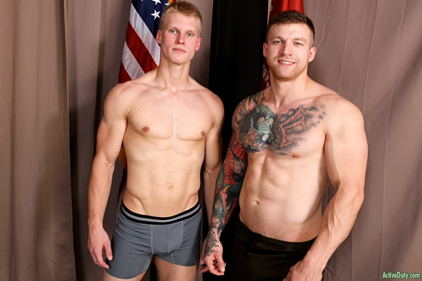 Fit blond dude Blake Effortley barebacks and fucks the cum out of hot newcomer, inked muscle stud Mike Johnson in Mike's bottoming debut at Activeduty