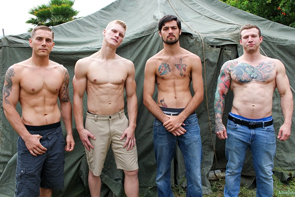 Hot military studs Blake Effortley, Mike Johnson, Mike O'Brian and Leeroy Jones bareback each other in Leeroy's bottoming debut in a raw fourway at Activeduty