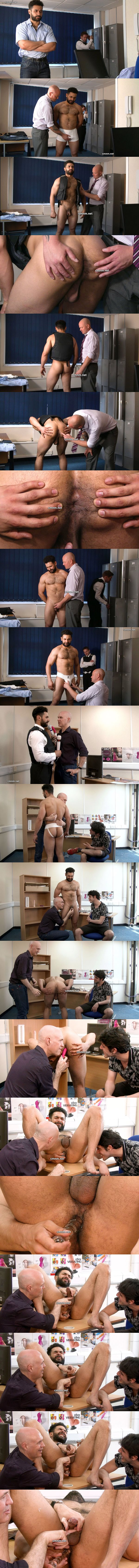 Masculine straight beefcake, security guard Richard gets fondled, tight virgin ass dildo fucked and jerked off by perverted masters Dave and Adrian in The Debt Collector at Cmnm 02