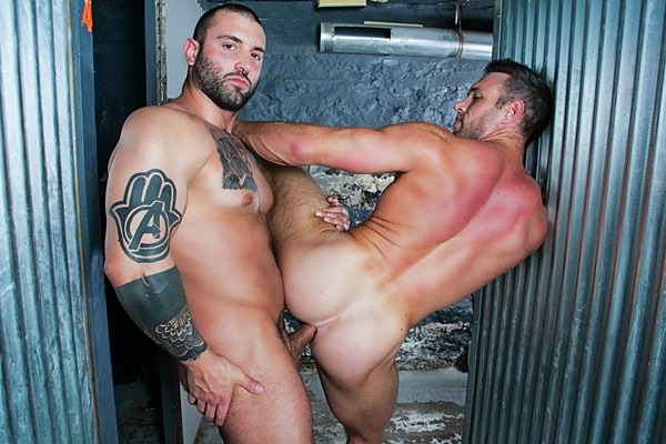 Masculine tattooed straight beefcake Markus Kage (former MMA fighter Simon Marini) barebacks Alex Mecum in Impulse Buy Part 2 at Masqulin