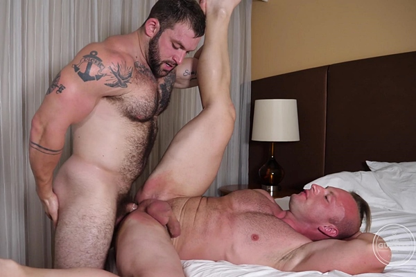 Sexy hairy straight muscle hunk Jack fucks an anonymous cowboy's tight bubble ass until Jack cums on his face in the cowboy's bottoming debut in Cum Up The Nose at Theguysite