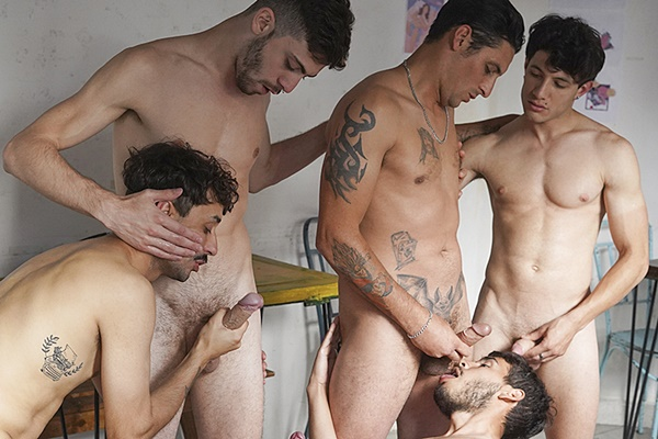 Hot latinos Roko, Bruno, Matias, Pablo and a newcomer have a bareback fivesome before ending the orgy with a warm bukkake in Numero 87 at Latinleche