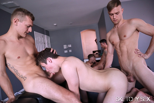 Hot sketchy dudes Adam, Damien Black, Lance Weber and Xander Devila gangbang bareback and breed cum sluts Adam Awbride and Oliver Star in Big Dick Parade at Sketchysex