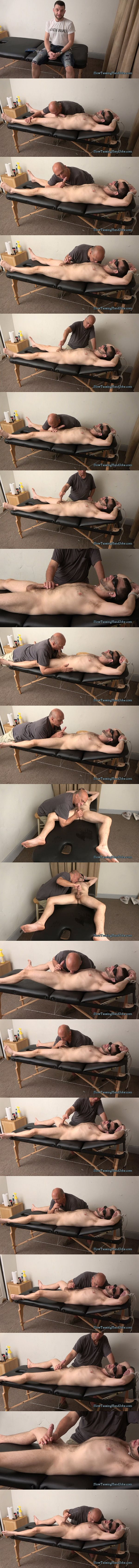 Hot new model, straight guy Nick gets tied up, blindfolded, sucked and jerked off by master Rob in He Never Had an Orgasm Like That Before in Slowteasinghandjobs 02