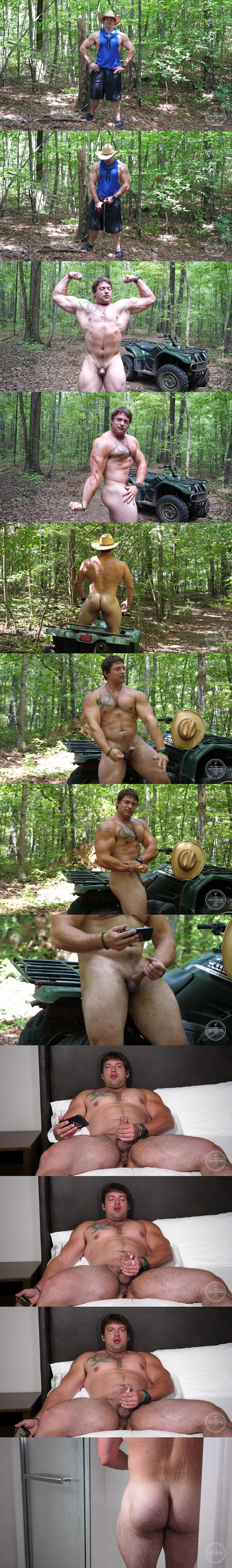 Ex Marine, muscular straight beefcake Jack Hammer has a naked run in the woods before he jerks off at Theguysite