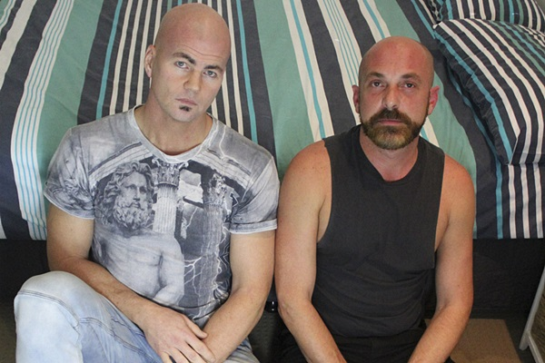 Bald muscle stud Colton Chance barebacks bearded daddy Pablo's tight bubble ass until he gives Pablo a facial in Pablo's bottoming debut at Amateursdoit
