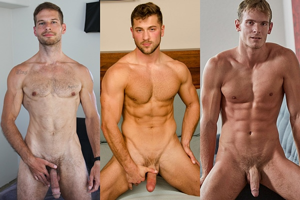 Big dicked newcomer David Skyler, ripped military jock Giacomo and fit college dude Weston get naked and jerk off