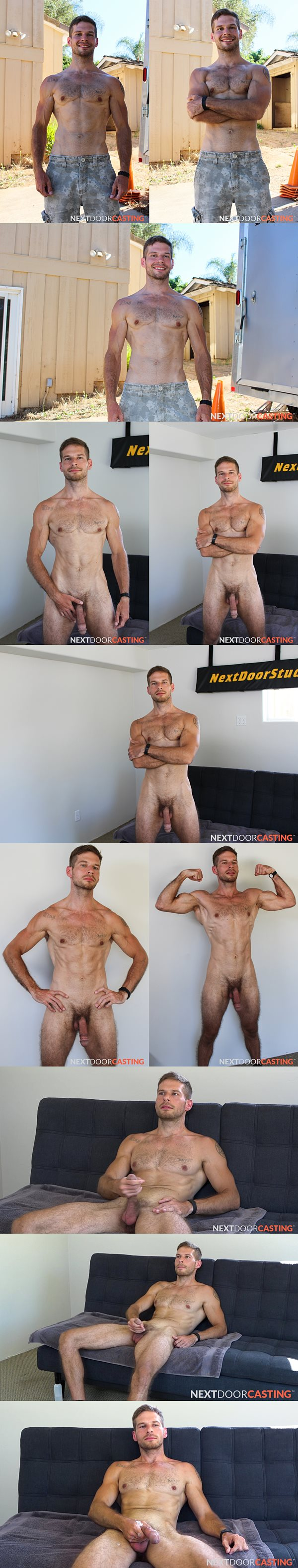 Handsome, hung straight newcomer David Skyler gets naked before he shoots his sticky load at Nextdoorstudios