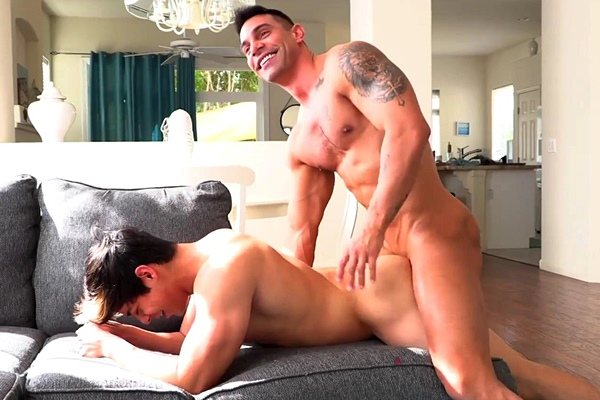 Hung European newcomer Marcos Acosta fucks the cum out of young straight dude Jacob Booker in Jacob's bottoming debut at Gayhoopla