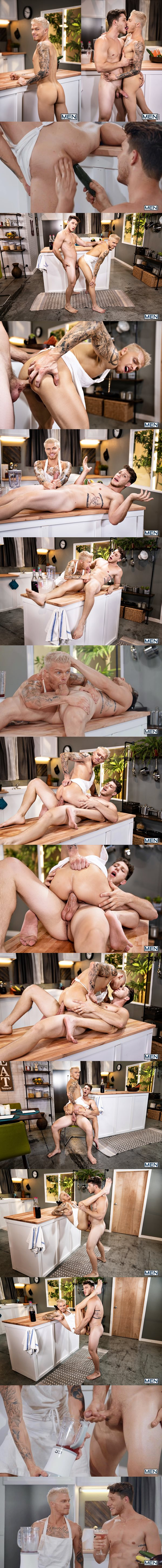 Paul Canon barebacks long time top only gay porn star Blake Ryder's tight bubble ass until he cums into a blender in a chef theme scene in Blake's bottoming debut at Men 02