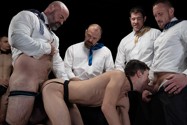 LeGrand Wolf, Bishop Angus, Master Ballard (aka Max Sargent) and Master Myles (aka Myles Landon) bareback Jay James, Austin L Young, Cole Blue and Danny in an older younger orgy at Boyforsale
