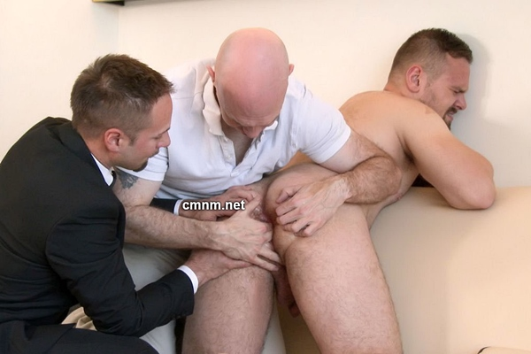 Sexy, masculine straight repairmen Patrick Barak fondled, explored, virgin ass finger fucked and jerked off by pervy master Adrian and his assistant at Cmnm