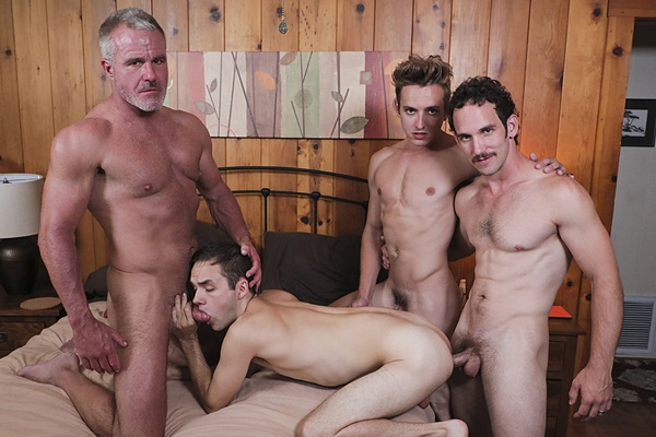 Dale Savage, Greg McKeon and Bar Addison gangbang breed Marcus Rivers in an old younger foursome in Return of Grandpa Ch 2: Stepgramp's Toys at Familydick