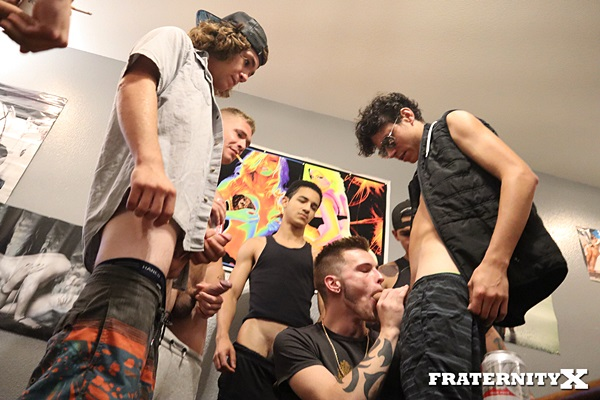 Hot frat dudes Aaron, Austin Drake, Chris Star, Jason Reed and Landon Matthews gangbang bareback and breed Casey Owens in Broke Dat Ass at Fraternityx