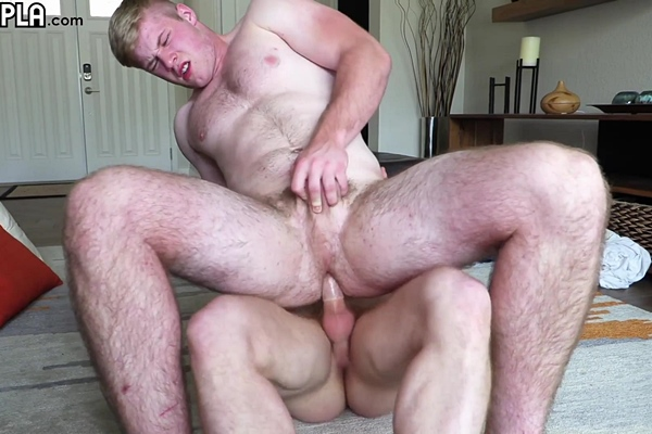 Sexy inked straight jock Dustin Hazel fucks big blond muscle boy Troy Daniel's bubble ass before he fucks the cum out of Troy at Gayhoopla