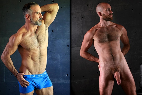 Ripped silver fox Hunter X and hung masculine hairy daddy Zaddy Zick get naked and jerk off at Legendmen