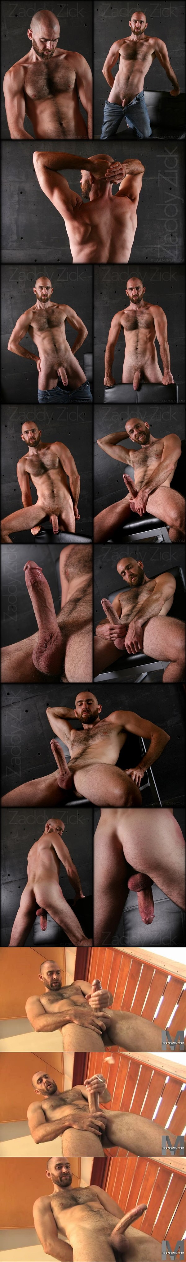 Masculine, big dicked hairy daddy Zaddy Zick poses his fit naked body before he jerks off at Legendmen