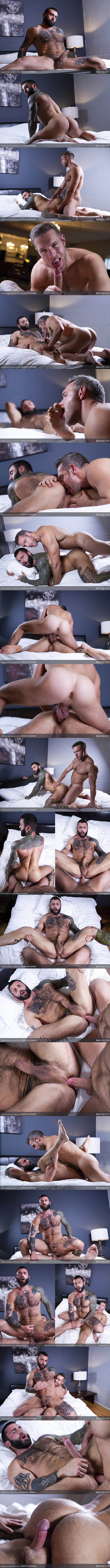 Hung gay porn star Alex Mecum barebacks former MMA fighter, masciline inked straight beefcake Markus Kage's tight virgin ass in Markus' bottoming debut in Prostate Play Premiere at Masqulin 01