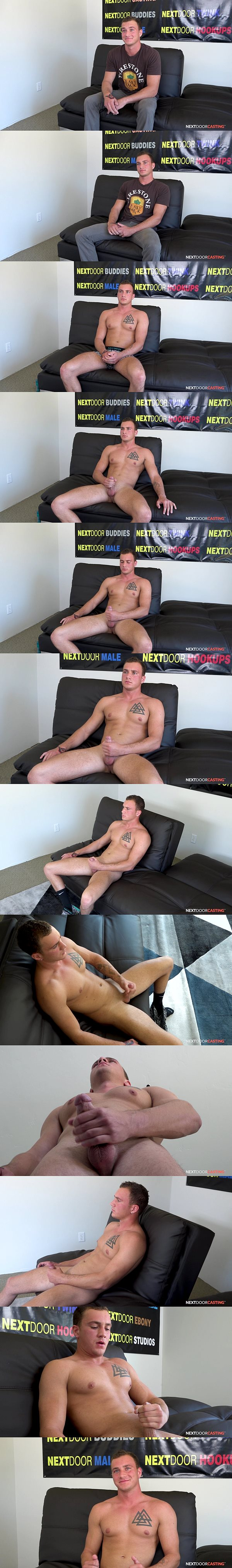 Good looking straight college student Logan Thomas breaks in gay porn and jerks off on camera for the first time at Nextdoorstudios