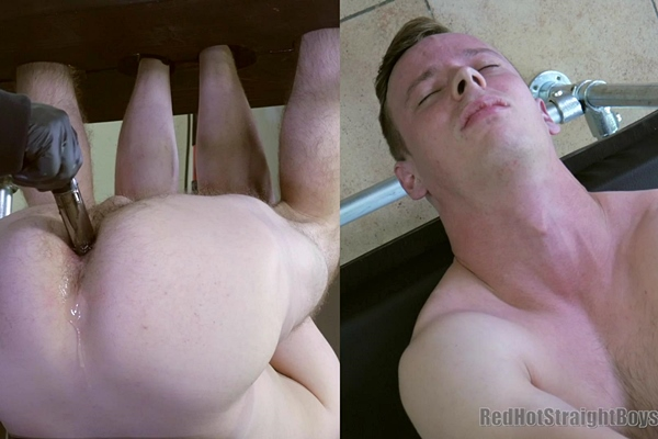 Lean straight lad Patrick Dixon gets his tight virgin ass fingered and vibrator fucked before he gets jerked off in First Gay Experience and Defiling Patrick at Redhotstraightboys