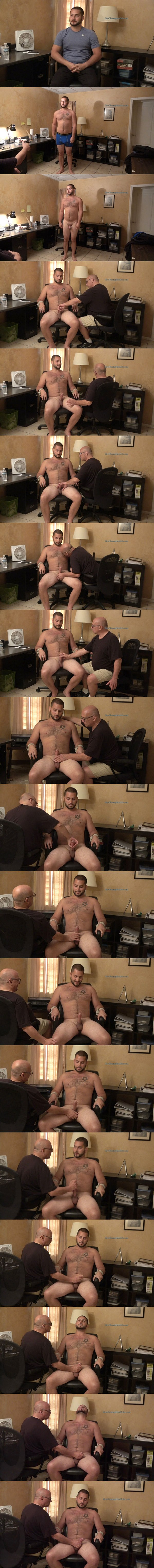 Hot newcomer, masculine straight muscle hunk Alan gets tied up naked and slowly jerked off by master Rich in Alan's Slow Tease at Slowteasinghandjobs 02