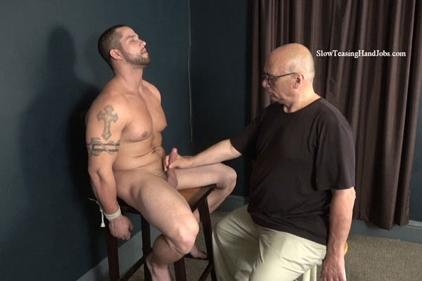 Masculine, ripped straight muscle stud Angelo gets serviced, edged and wanked by a guy for the first time on camera in Muscle Tease at Slowteasinghandjobs