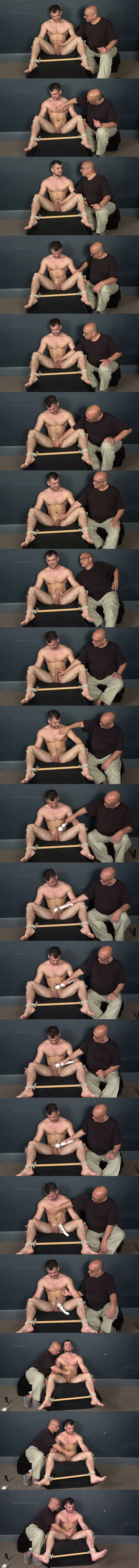 Hot straight muscle jock Dan gets bound naked and edged by a massager before he gets his load jerked out of his hard cock at Slowteasinghandjobs 02