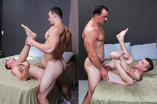 Masculine straight beefcake Alex James barebacks Ryan Jordan and Scott Finn before he fucks the cum out of two bottoms at Activeduty