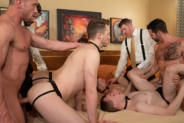Dani Robles, Dolf Dietrich, LeGrand Wolf and Myles Landon bareback Austin L Young, Blake Ellis, Cole Blue and Tom Bentley in Buyers' Group Chapter 2: European Cabal at Boyforsale