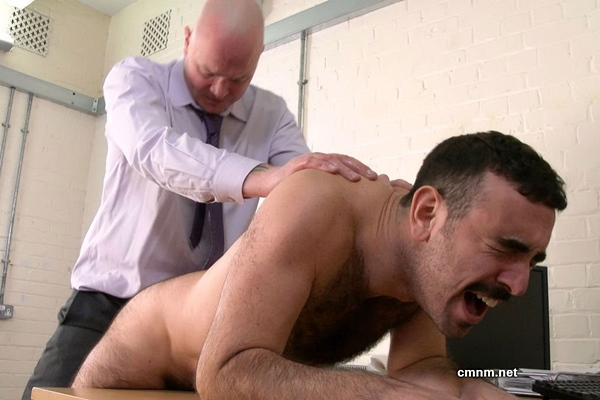 Bearded, fuzzy straight guy Pete gets his hairy bubble ass spanked, tight virgin ass fingered and fucked by Dave before Dave gives Pete a facial in Pete's bottoming debut at Cmnm