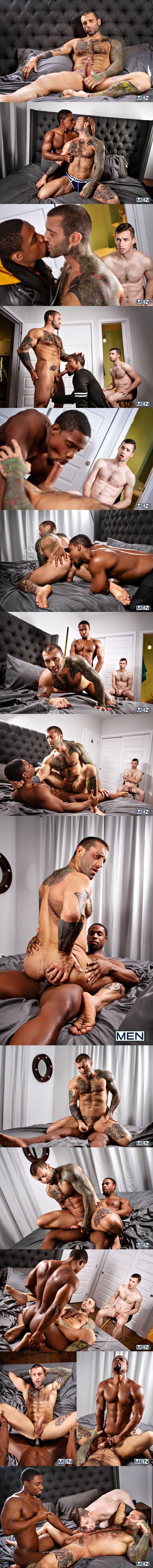 Ripped black muscle stud DeAngelo Jackson fucks masculine beefcake Markus Kage in an interracial scene in Cuckboys Part 1 at Men 01