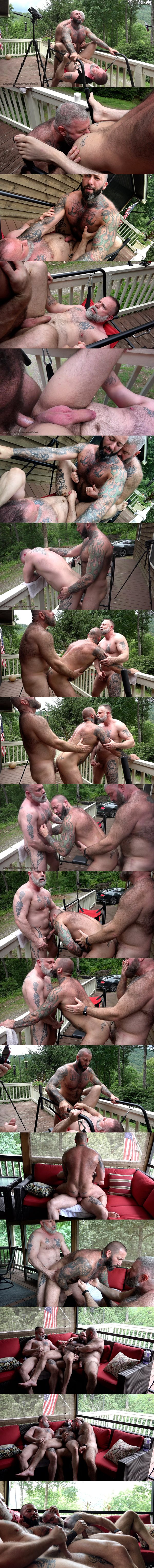 Will Angell barebacks Liam Angell and inked beefcake Alexander Kristov in a muscle bear raw threeway until they jerk off in Serb Cock at Musclebearporn 01